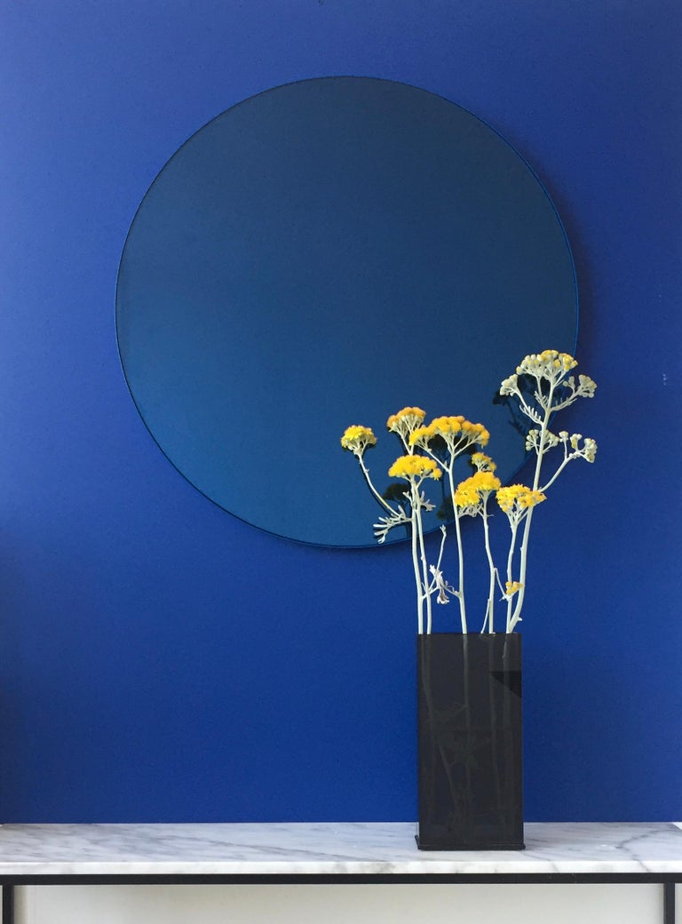Minimalist Blue Tinted with Blue Frame Orbis Circular Wall Mirror, Small For Sale 1