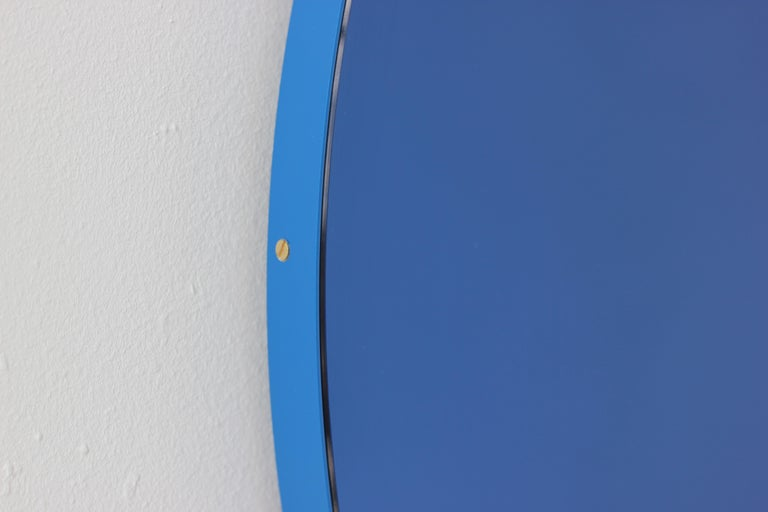 Minimalist Blue Tinted with Blue Frame Orbis Circular Wall Mirror, Small For Sale 2