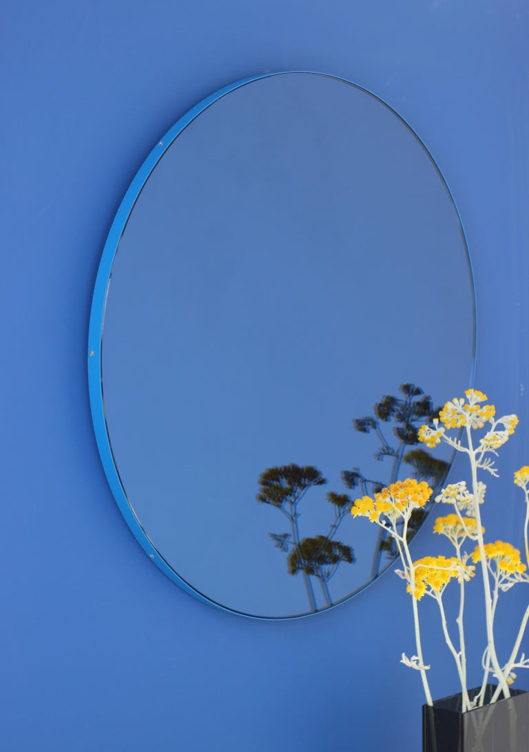 Minimalist Blue Tinted with Blue Frame Orbis Circular Wall Mirror, Small For Sale 3