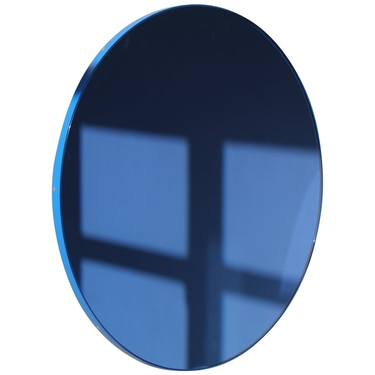 Minimalist Blue Tinted with Blue Frame Orbis Circular Wall Mirror, Small For Sale