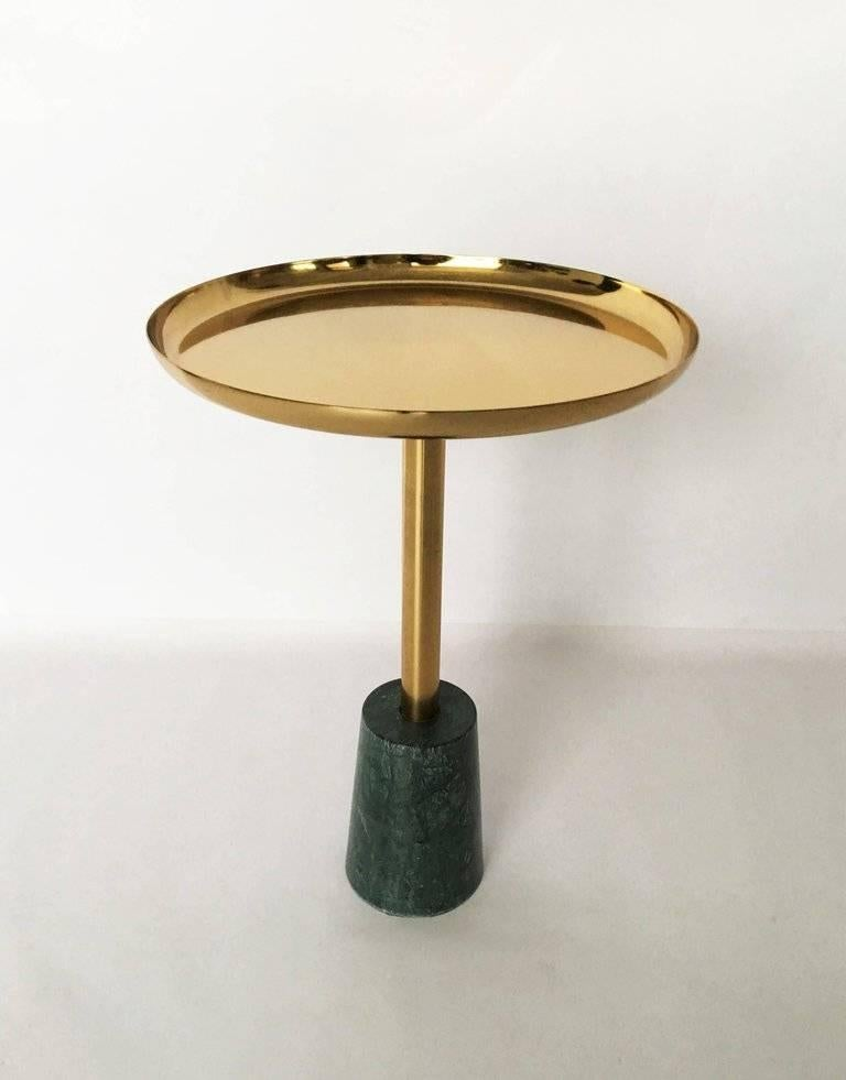 Minimalist Brass And Green Marble Petite Side Table For Sale At 1stdibs