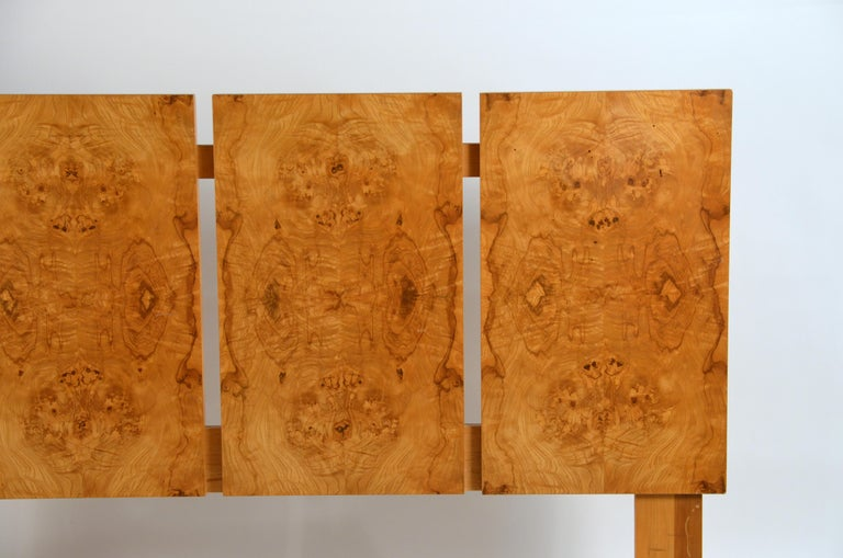 Minimalist queen size headboard by Lane Furniture. Incredible Rorschach patterns on the burl wood panels. Stamped 'Lane'.  Standard size will fit any queen size mattress and box spring.