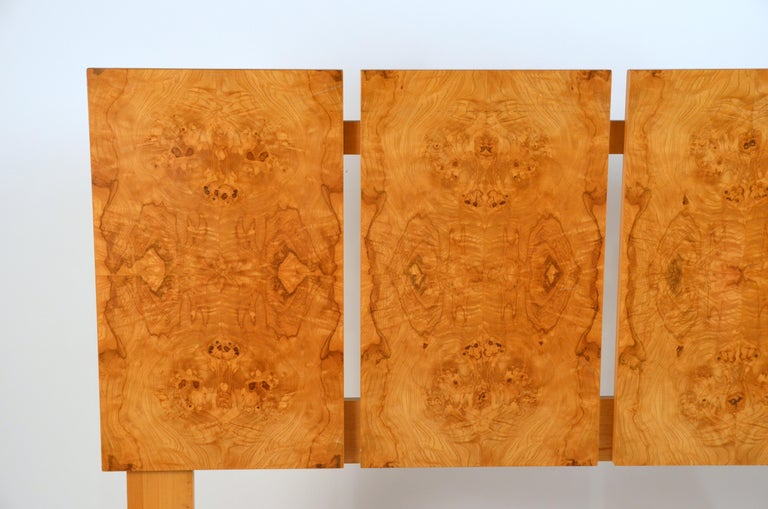 American Minimalist Burl Wood Queen Size Headboard by Lane For Sale