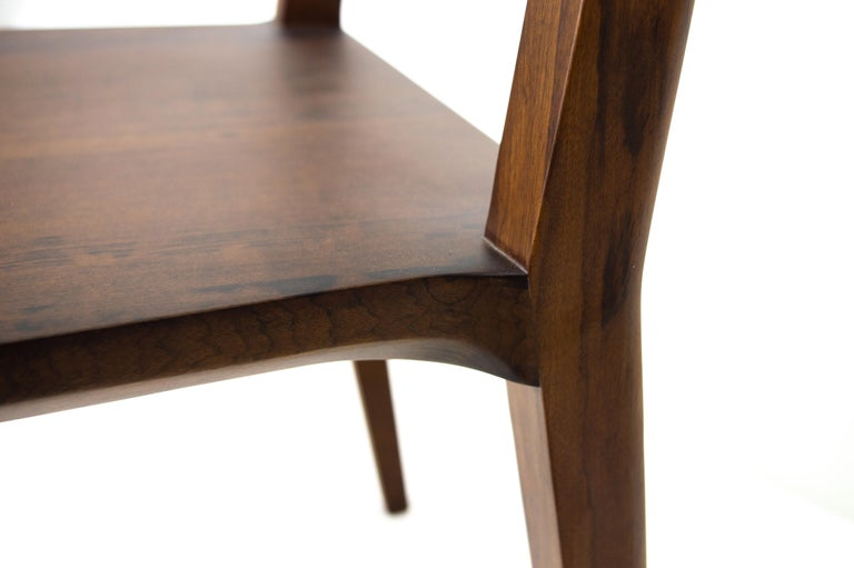 Minimalist Chair in Hardwood Solid Black without Arms For Sale 7