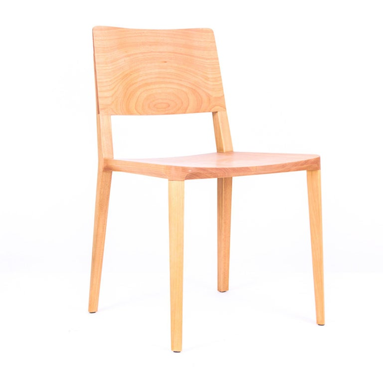 Brazilian Minimalist Chair in Hardwood Solid Black without Arms For Sale