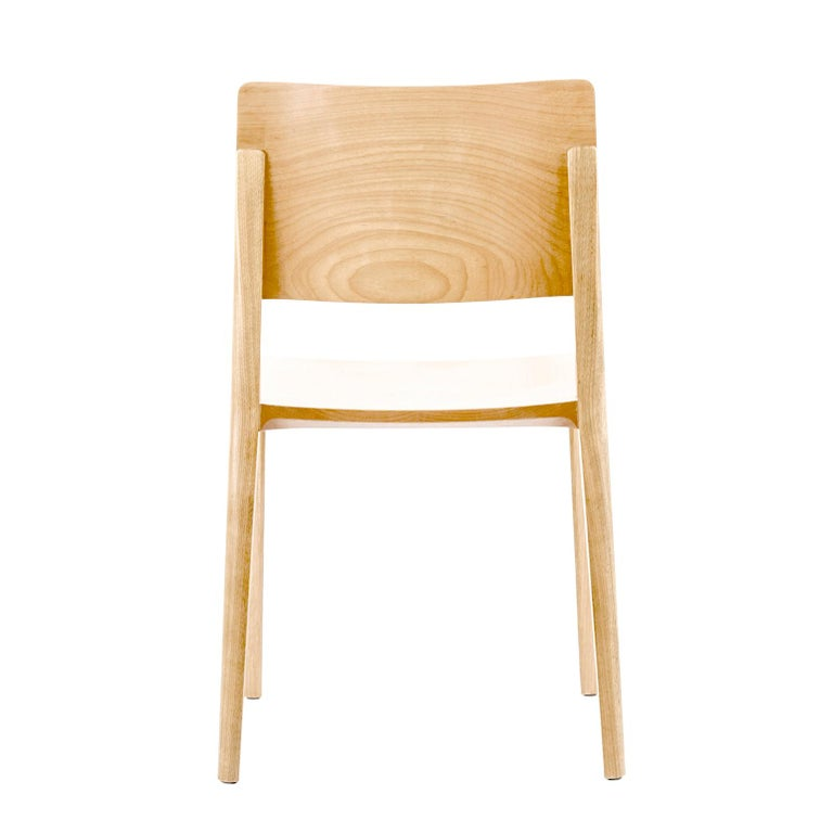 Contemporary Minimalist Chair in Hardwood Solid Black without Arms For Sale