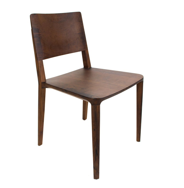 Minimalist Chair in Hardwood Solid Black without Arms For Sale 2