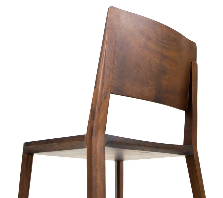 Minimalist Chair in Hardwood Solid Black without Arms For Sale 3