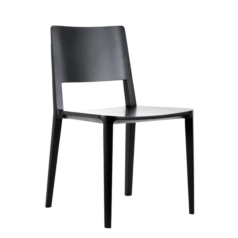 Minimalist Chair in Hardwood Solid Black without Arms For Sale