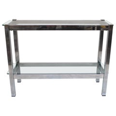 Minimalist Chrome 2-Tiered Glass Console Table, Italy, 1970s