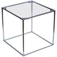 Minimalist Chrome and Glass Side Table by Poul Cadovius, 1960s