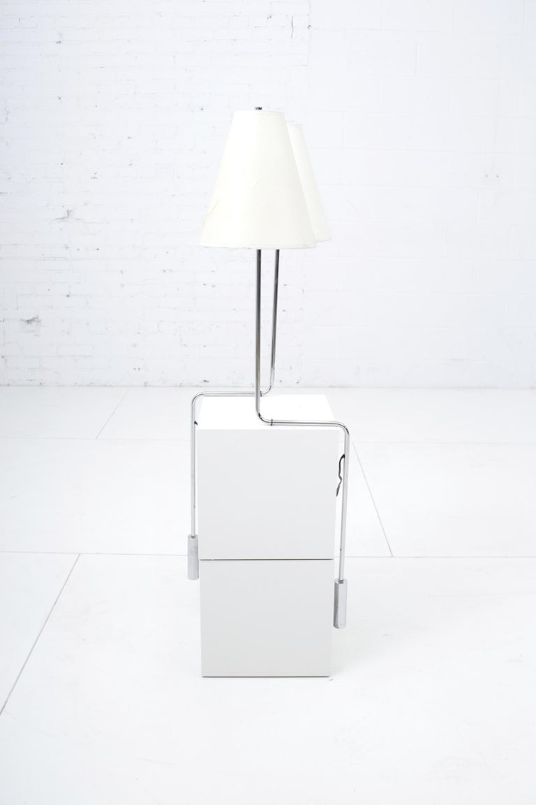 American Minimalist Chrome Counterbalance Table Lamps For Sale