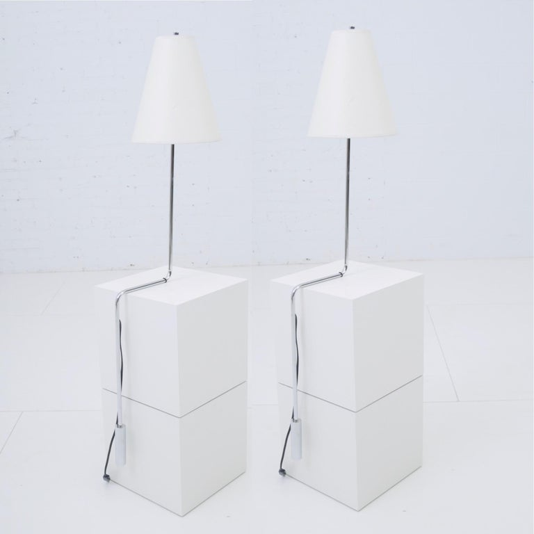 20th Century Minimalist Chrome Counterbalance Table Lamps For Sale