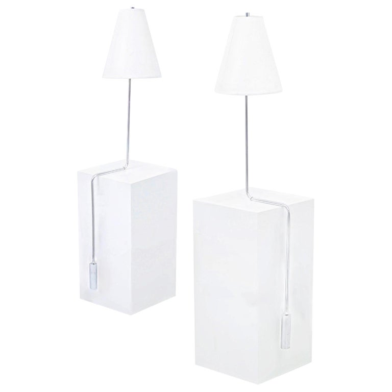 Minimalist Chrome Counterbalance Table Lamps For Sale
