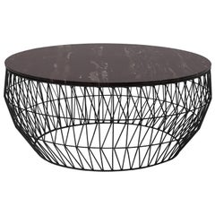 Minimalist Coffee Table, Wire Center Table in Black with Black Marble
