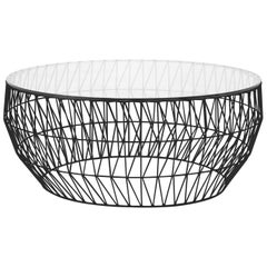 Minimalist Coffee Table, Wire Center Table in Black with Clear Glass