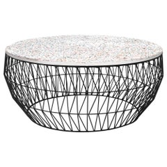Minimalist Coffee Table, Wire Center Table in Black with Terrazzo