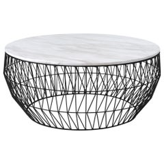 Minimalist Coffee Table, Wire Center Table in Black with White Marble