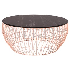 Minimalist Coffee Table, Wire Center Table in Copper with Black Marble
