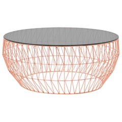 Minimalist Coffee Table, Wire Center Table in Copper with Smoked Glass