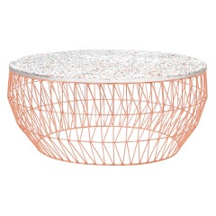 Minimalist Coffee Table, Wire Center Table in Copper with Terrazzo