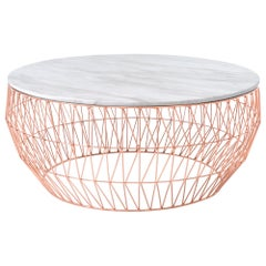 Minimalist Coffee Table, Wire Center Table in Copper with White Marble