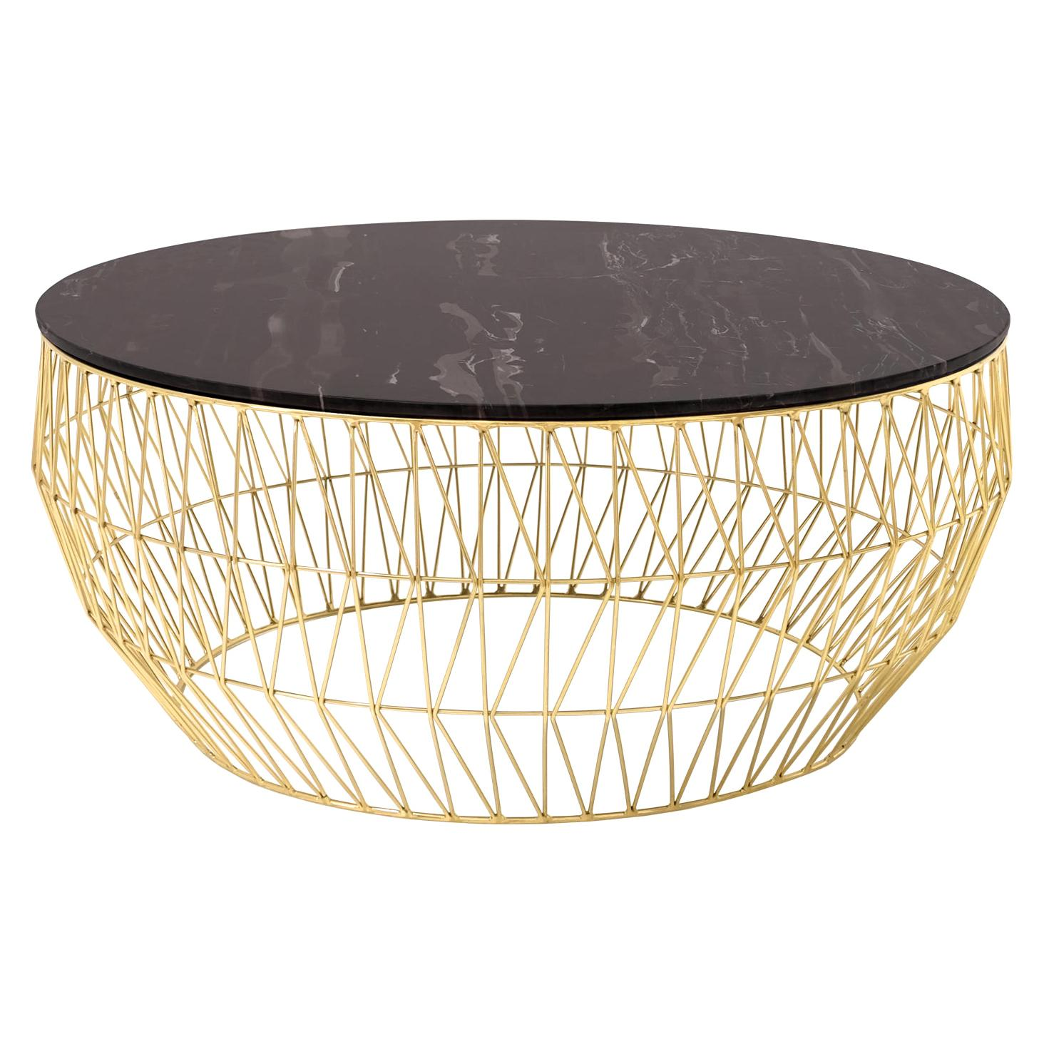 Minimalist Coffee Table, Wire Center Table in Gold with Black Marble
