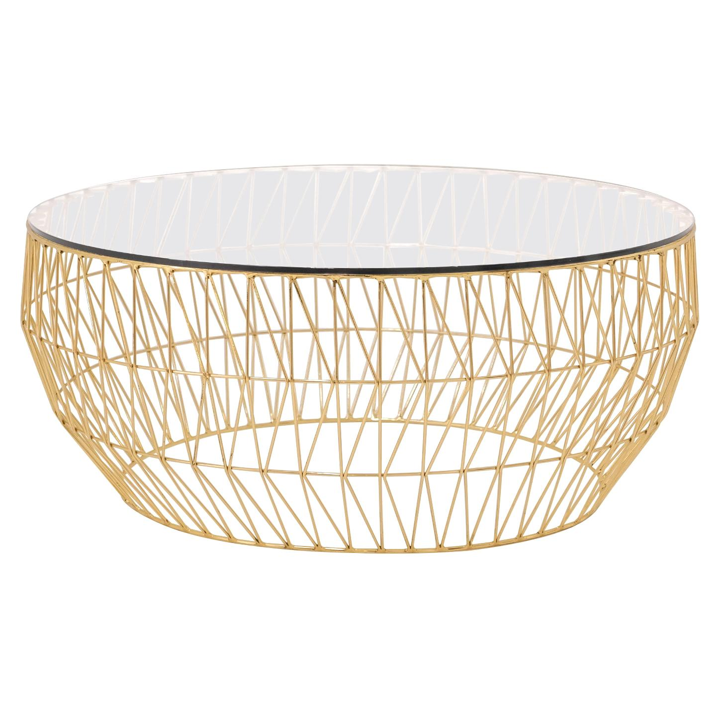 Minimalist Coffee Table, Wire Center Table in Gold with Clear Glass