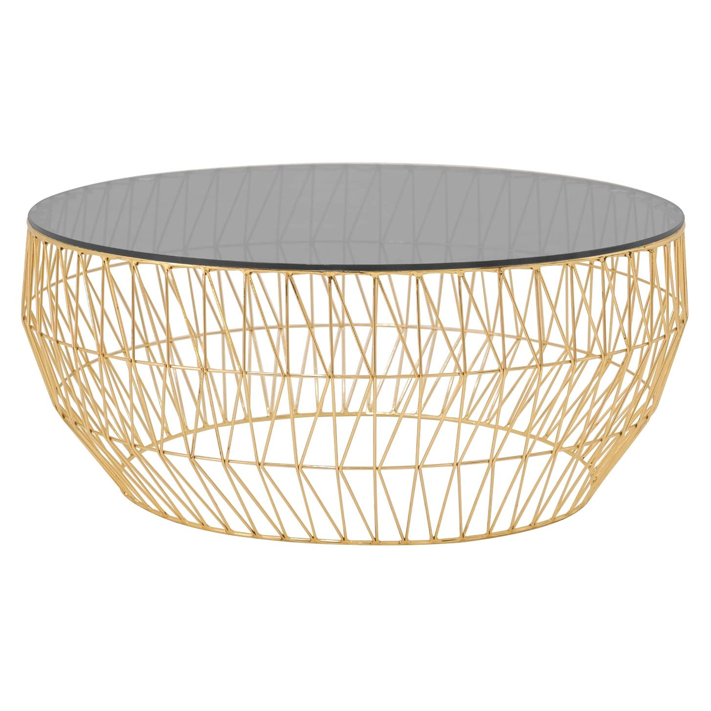 Minimalist Coffee Table, Wire Center Table in Gold with Smoked Glass