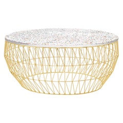 Minimalist Coffee Table, Wire Center Table in Gold with Terrazzo
