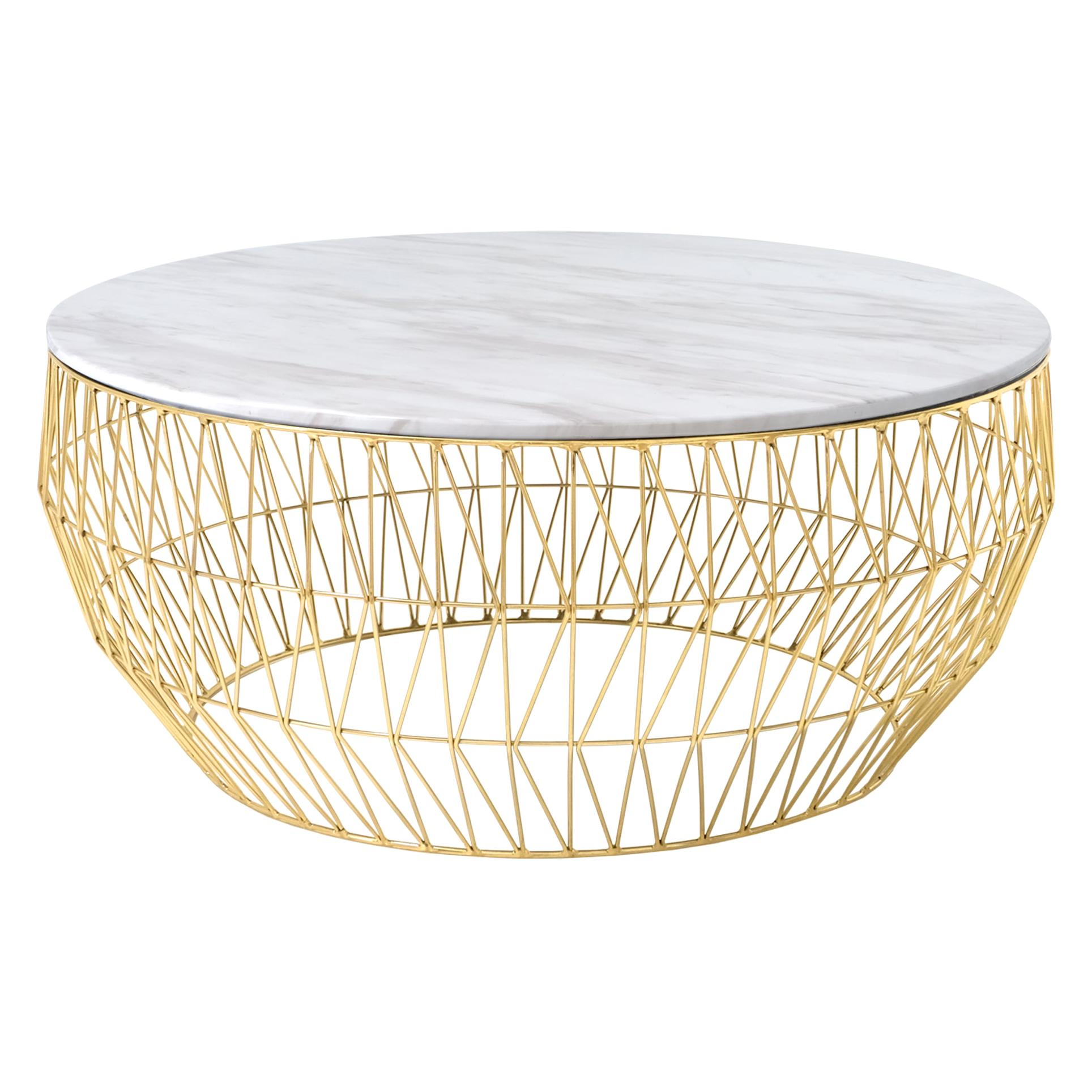 Minimalist Coffee Table, Wire Center Table in Gold with White Marble