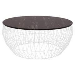 Minimalist Coffee Table, Wire Center Table in White with Black Marble