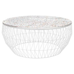 Minimalist Coffee Table, Wire Center Table in White with Terrazzo