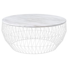 Minimalist Coffee Table, Wire Center Table in White with White Marble