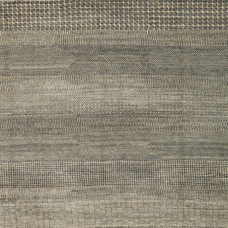 Minimalist Contemporary Persian Area Rug, Gray and Cream in Pure Wool For Sale 1