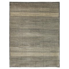 Minimalist Contemporary Persian Area Rug, Gray and Cream in Pure Wool