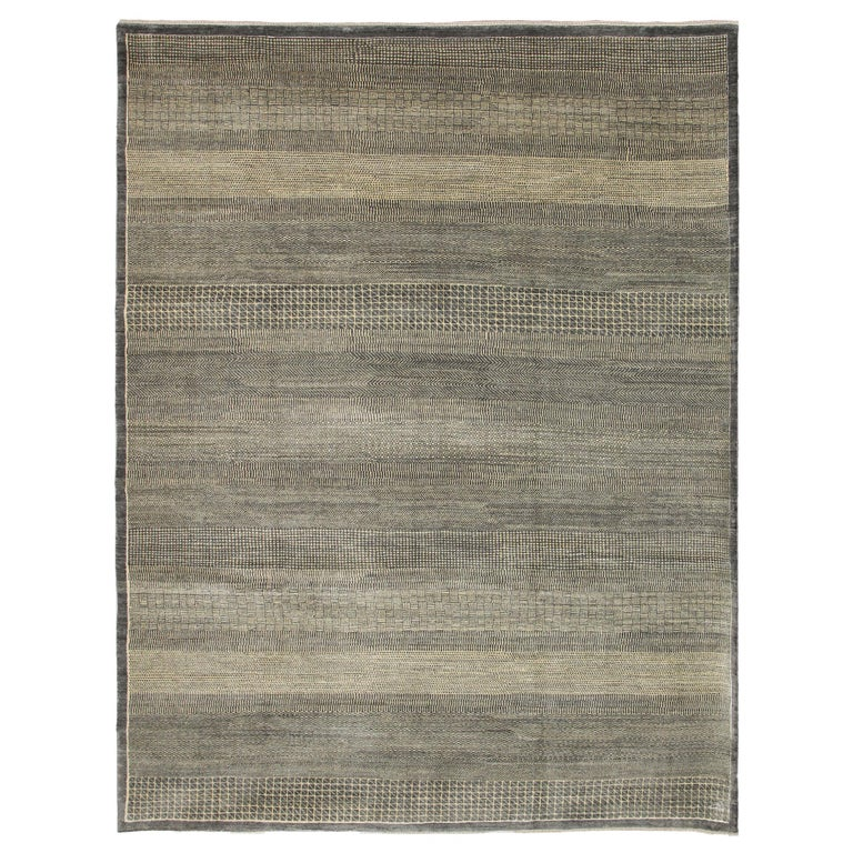 Minimalist Contemporary Persian Area Rug, Gray and Cream in Pure Wool For Sale