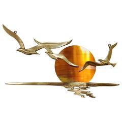Minimalist Copper Bird Sculpture, 1970s