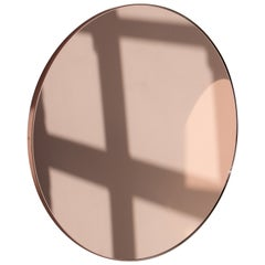 Orbis™ Rose Gold Tinted Round Minimalist Mirror with Copper Frame - Small