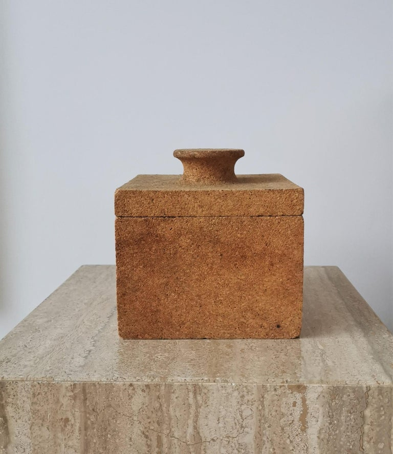 French Minimalist Cork Ice Bucket, France, 1970s For Sale