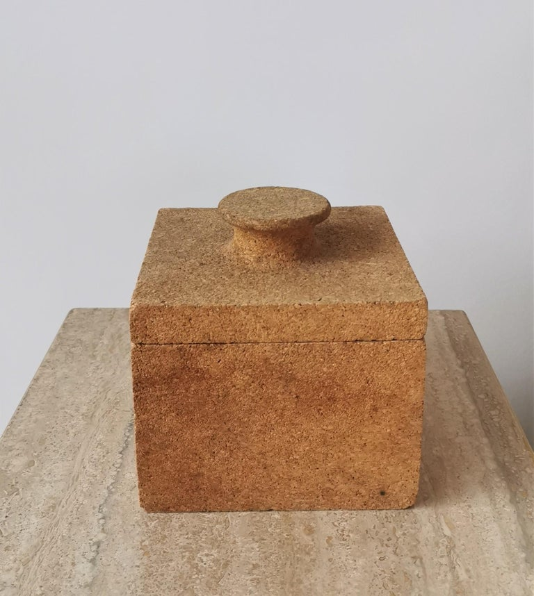 Minimalist Cork Ice Bucket, France, 1970s In Fair Condition For Sale In New York, NY