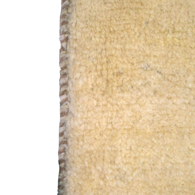Tribal Minimalist Cream and Blue Wool Persian Gabbeh Carpet For Sale