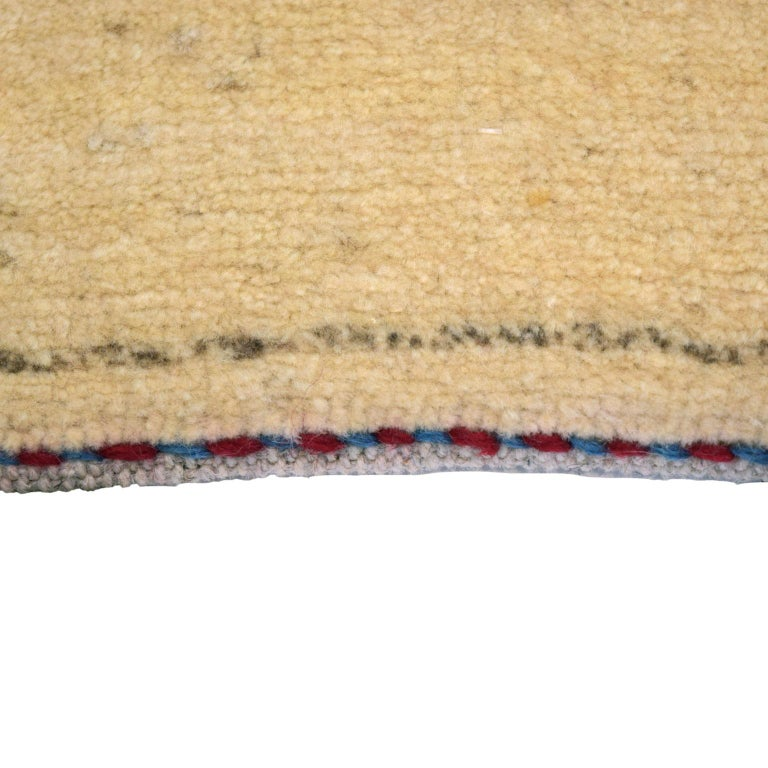 Vegetable Dyed Minimalist Cream and Blue Wool Persian Gabbeh Carpet For Sale
