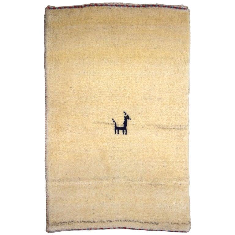 Minimalist Cream and Blue Wool Persian Gabbeh Carpet For Sale