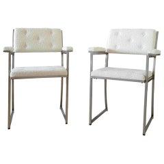 Minimalist Crème White Stainless Steel Armchairs by Guy Lefevre, Maison Jansen