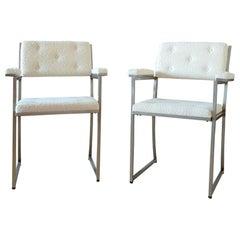 Minimalist Creme White Stainless Steel Armchairs by Guy Lefevre, Maison Jansen