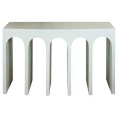 Minimalist Curved Front Arch Console in Pale Blue by Martin and Brockett