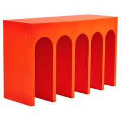 Minimalist Curved Front Console with Arches by Martin and Brockett in Orange