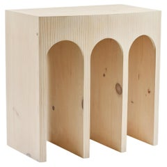 Minimalist Curved Front Pine Console with Arches in Soaped Finish
