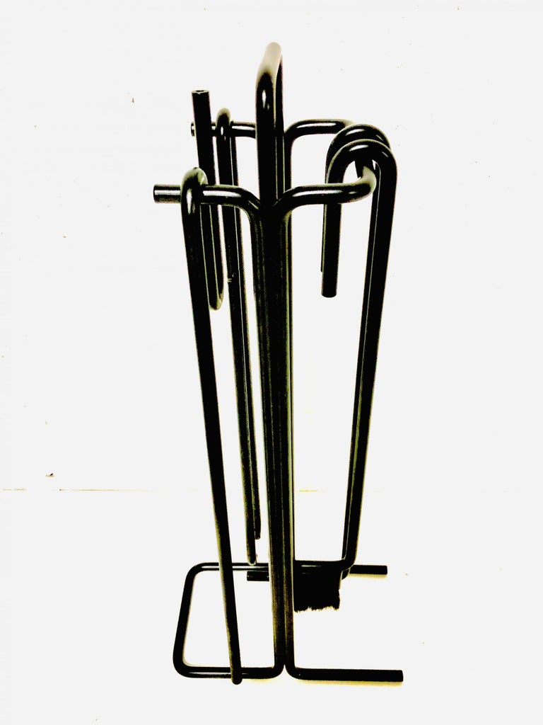 Metalwork Minimalist Fire Tool Set by Ann Maes for Mace-Line Holland, 1977 For Sale
